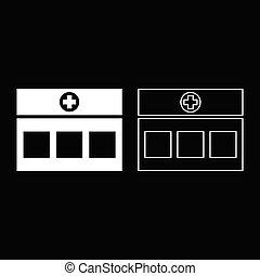 vecteur, bâtiment, clinique, couleur, illustration, contour, style, icône, monde médical, plat, hôpital, blanc, ensemble, image