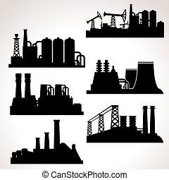 vecteur, bâtiments, industriel, ensemble