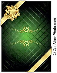 vecteur, b, arrière-plan vert, or