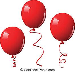 vecteur, ballons, illustration, rouges
