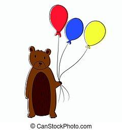 vecteur, ballons, ours, tenue