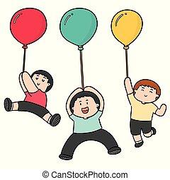 vecteur, balloon, ensemble, gens
