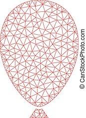vecteur, balloon, illustration, polygonal, maille, cadre, célébration