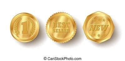 vecteur, banners., doré, toile, ensemble, luxe, prime, récompense