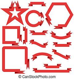 vecteur, bannières, ensemble, rouges, rubans, illustration