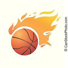 vecteur, basket-ball, flamboyant