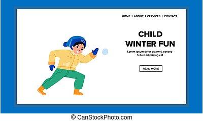 vecteur, baston, jeu, jeu, enfant, amusement, boule de neige, hiver