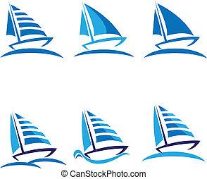 vecteur, bateaux, mettez stylique, logo
