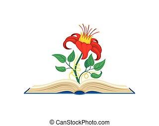 vecteur, bindweed, fleur, autour de, formulaire, milieu, stem., emballages, jaune, arrière-plan., fabuleux, illustration, blanc rouge, crown.