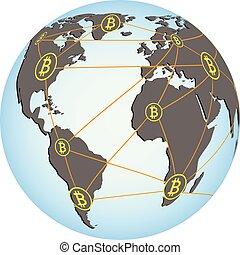 vecteur, bitcoin, illustration, réseau
