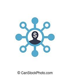 vecteur, blanc, icône, actionnaire