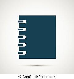 vecteur, blanc, notebok, isolé, fond