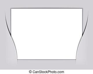 vecteur, blanc, papier, rectangle, vide