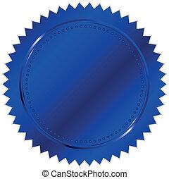 vecteur, bleu, cachet, illustration