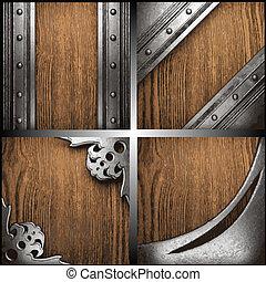 vecteur, bois, ensemble, métal, fond