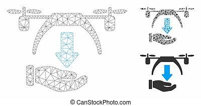vecteur, bourdon, triangle, icône, mosaïque, réseau, modèle, décharger, maille