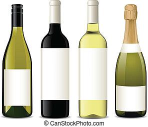 vecteur, bouteilles, vin