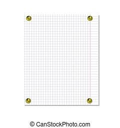 vecteur, boutons, arrière-plan., réaliste, papier, attaché, épingle, cahier, blanc, isolé, feuille, doré