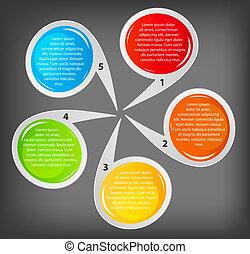 vecteur, business, bannières, différent, coloré, circulaire, illustration, concept, design.