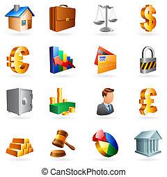 vecteur, business, icons.