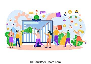 vecteur, business, internet., recherche, social, concept., par, online., marché, client, stratégie, média, commercialisation, gens, travail, réseau, illustration.