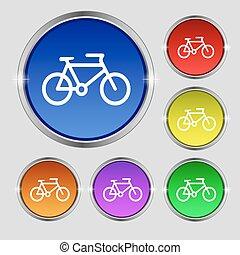 vecteur, buttons., signe., symbole, clair, vélo, coloré, rond, icône