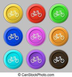 vecteur, buttons., signe., symbole, vélo, neuf, coloré, rond, icône
