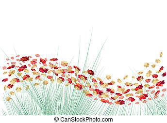 vecteur, cœurs, fleurs