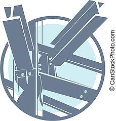 vecteur, cadre, construction, métal, icône