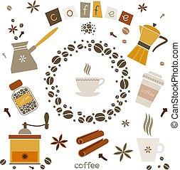 vecteur, café, éléments, conception, collection