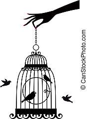 vecteur, cage d'oiseaux, main