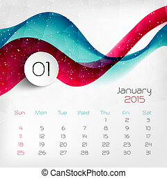 vecteur, calendar., 2015, january., illustration