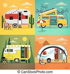 vecteur, camping, illustration., trailers.