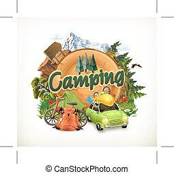 vecteur, camping, illustration