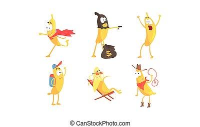 vecteur, caractère, ensemble, dessin animé, choses, banane, divers