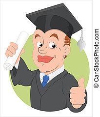 vecteur, caractère, jour, remise de diplomes