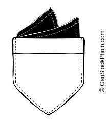 vecteur, carré poche