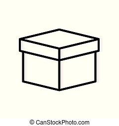 vecteur, carton, icon-, illustration, boîte