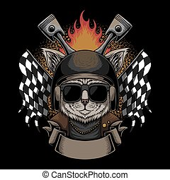 vecteur, casque, motocyclette, chat, illustration