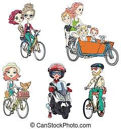 vecteur, cavalcade, vélo, ensemble, gens