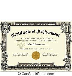 vecteur, certificat, gabarit, officiel