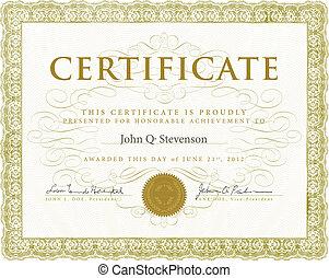 vecteur, certificat, ornements