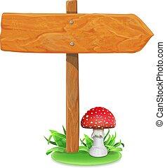 vecteur, champignon, illustration, signe, bois, planche, herbe
