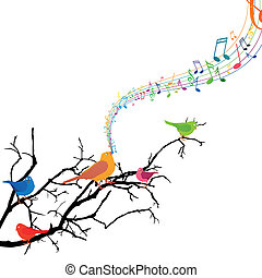 vecteur, chant, oiseaux, branche