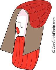 vecteur, chapeau, girl, fond, résumé, rouges, pictur, illustration