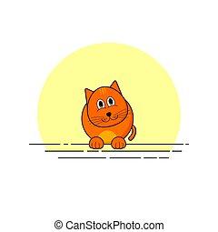 vecteur, chat, simple, illustration