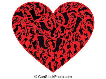 vecteur, chaussure, coeur rouge