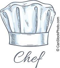 vecteur, chef cuistot, icône, toque, croquis