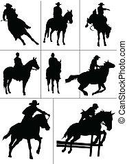vecteur, cheval, silhouettes., cavaliers