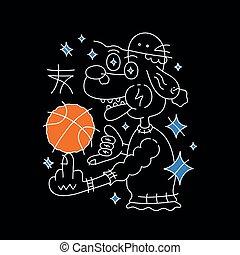 vecteur, chien, chapeau, basket-ball, ball.